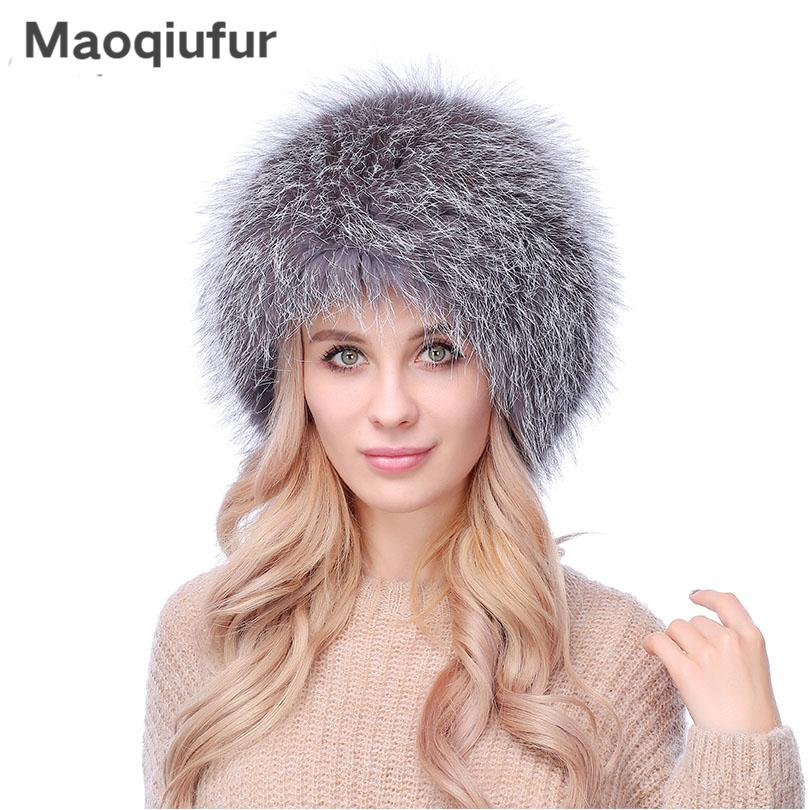 8004d9cb839 Women S Winter Knitted Fox Fur Hats Fluffy Natural Fox Fur Beanie Hats For  Girls High Quality Warm Female Winter Hat Caps Crazy Hats Mens Beanies From  ...
