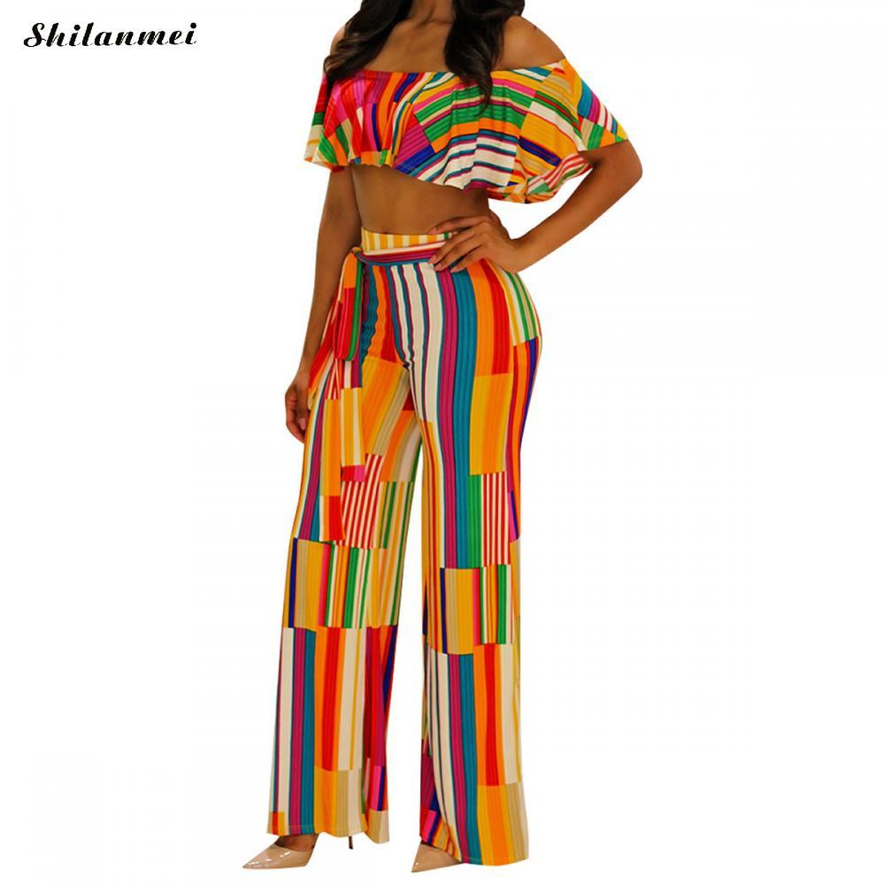 c0103dc143562 2019 2018 Summer Two Piece Set Women Striped Rainbow Ruffle Tube Top And  Pants Sexy Woman Outfit Set African Dashiki Wide Leg Trouser From Honey333,  ...