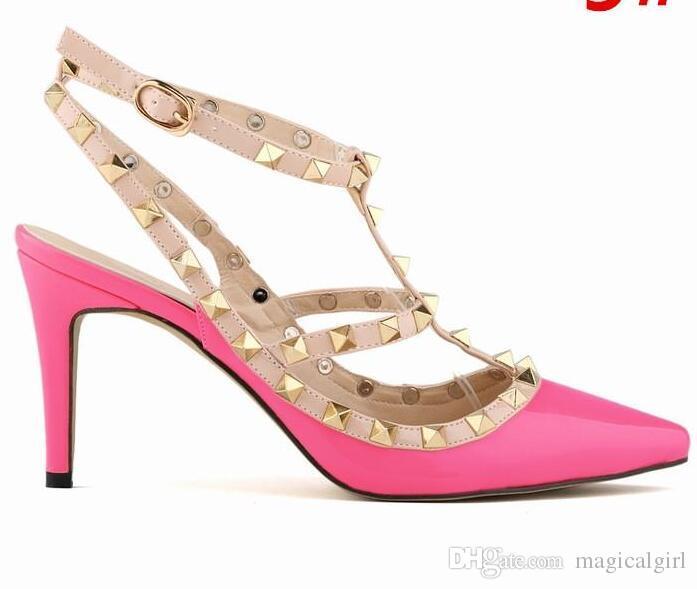 Nuovo 2018 popolare donne patchwork multicolor rivetto sandalo femminile punta a punta t-strap tacco alto pompa sandalo scarpe da sposa