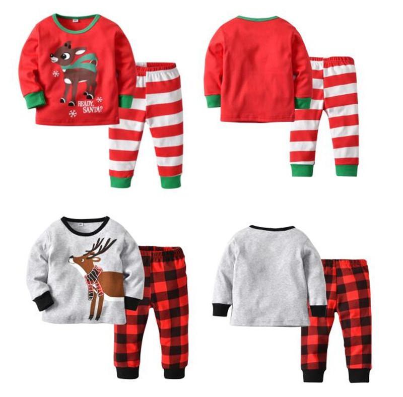 29d53dbd08fb Xmas Christmas Kids Pajamas Set Elk Deer Pajama Striped Plaid ...