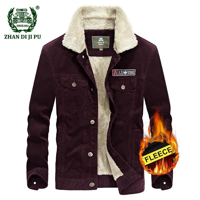 2d35bb5b72e 2018 Winter Thicken Warm Wool Coat Men Corduroy Jacket Man Casual Brand  Fleece Khaki Jackets Afs Blue Coats M L XL XXL XXXL Coats And Jacket Coats  Jackets ...