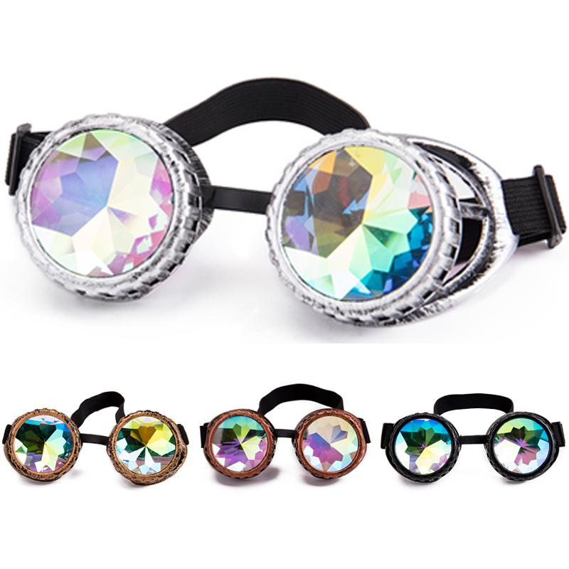 8d1e4b2ff6f3 FLORATA NEW Kaleidoscope Steampunk Rave Glasses Goggles With Rainbow  Crystal Glass Lens Vintage Glasses Gothic Cosplay Props Boots Sunglasses  Tifosi ...