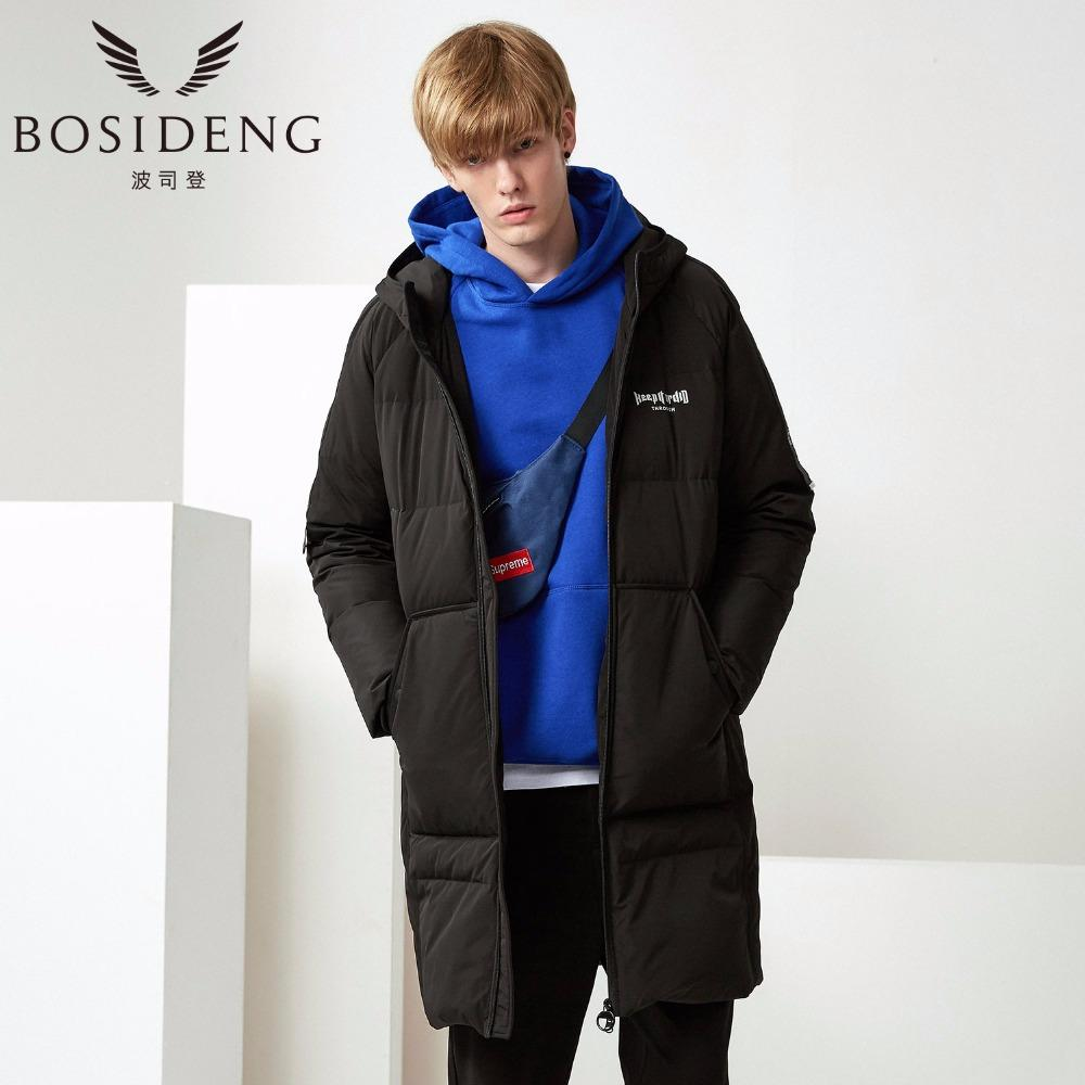 d4f4f8278 BOSIDENG 2017 New Men Winter Long Down Jacket Youth Fashion Casual Duck  Down Parka Hood Coat Warm Thick Outwear B70142121V