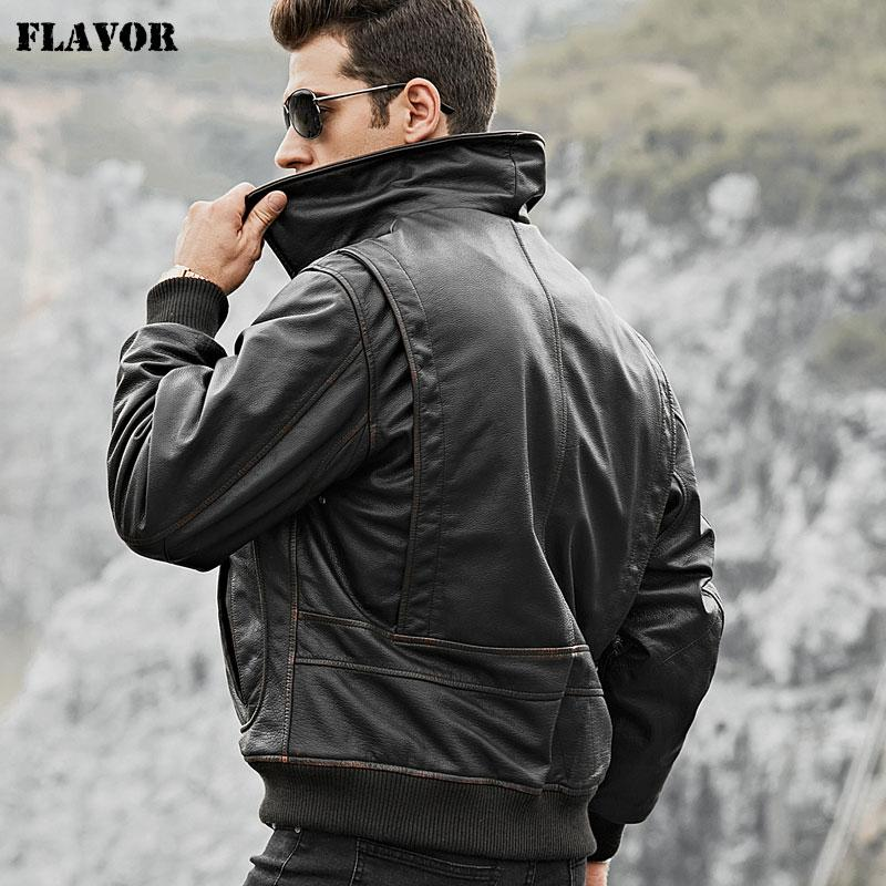 dd3597395c8 FLAVOR Men's Real Cow Leather Bomber Jacket Men Cowhide Genuine Leather  Jacket Winter Warm Aviator Coat