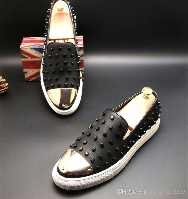 Yeni Dikenler Düz Deri Ayakkabı Moda Erkek Loafers Elbise ayakkabı erkekler Personel Ayakkabı ABD boyutu 6,5-10 c8 Slip On