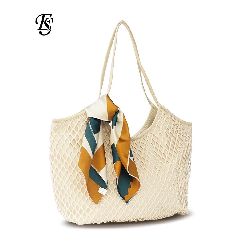 2a8e266cf45d Wholesale Brand Canvas Mesh Beach Bag 2018 New Arrival Fashion Large  Capacity Female Handbag Scarves Casual Women Shoulder Bag Mens Leather Bags  Italian ...