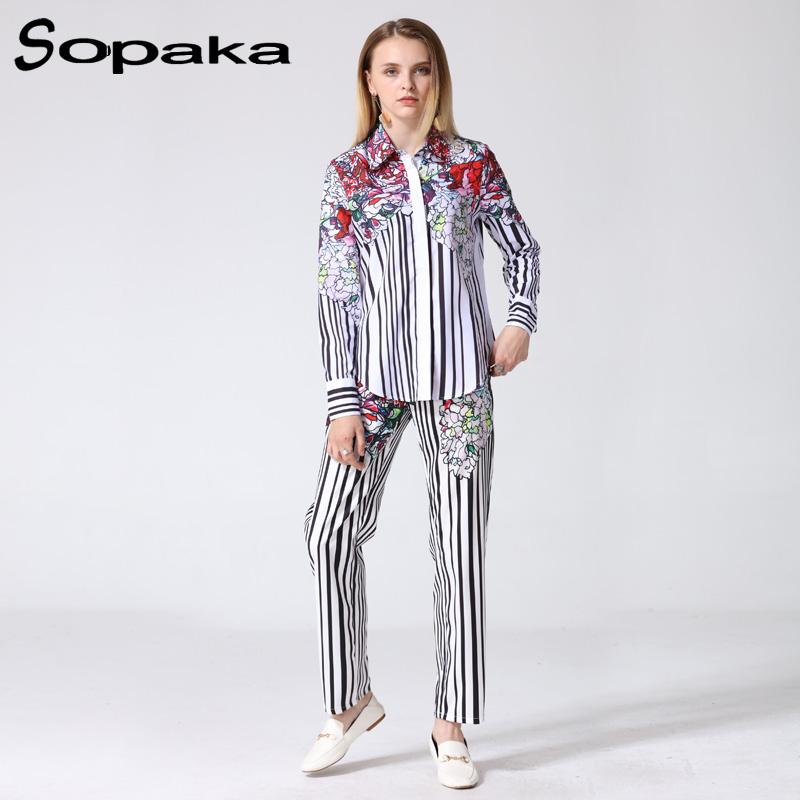 2018 Newest High Quality Black and White Striped Red Floral Print Full Sleeve Shirt +Long Pants Two Piece Set Designer Women Set