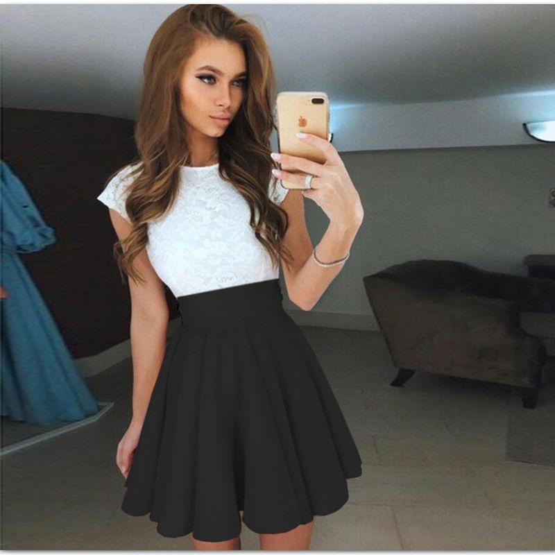 1e8fe6ea8 Summer Style Women Skirt Elastic Ladies Midi Skirts Sexy Girl Mini ...