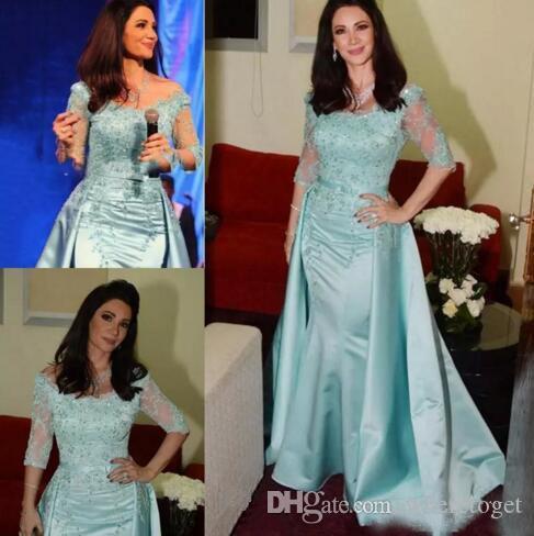Gelin Elbise Açık Mavi Anne omuz Yarım Kol Dantel Boncuklu Ayrılabilir Saten Mermaid Anneler Elbise Düğün Misafir Elbise kapalı