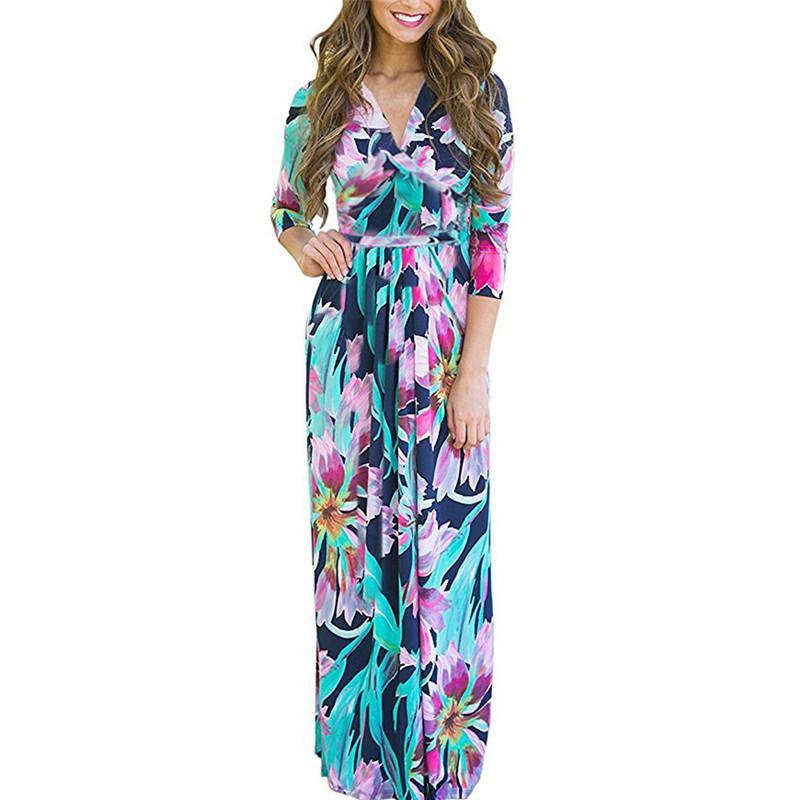 b6773b4bf8 Compre Vestido De Las Mujeres Estilo Boho Estampado Floral Vestidos Largos  2019 Sexy Escote En V Playa Vestido De Verano Vendaje Vestido Maxi Vintage  ...