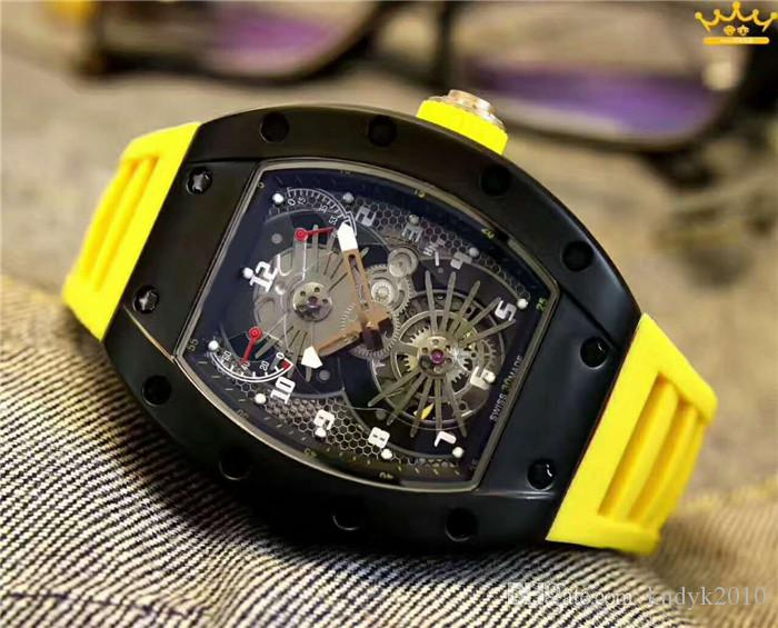 New Casual Men`s Automatic core Rubber belt Stainless Steel case Mineral tempered glass mirror Pin buckle