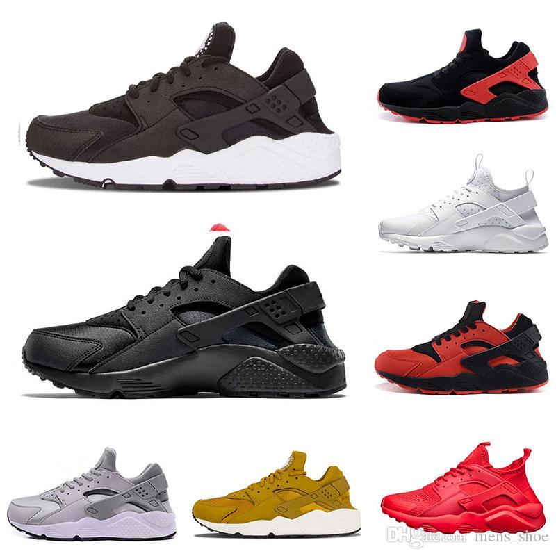 best sneakers 01c73 f65c9 Acheter Nike Air Huarache Nouveau Style Classique Air Huarache Hommes  Chaussures De Course Triple Blanc Noir Blanc Tout Rouge Doré Gris Rouge  Noir Femmes ...
