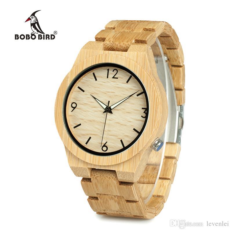 c18da40ad7375 Compre Bobo Bird Casual Bambu Relógio De Madeira Movimento Japonês Relógios  De Pulso De Bambu Banda De Madeira Relógios De Quartzo Para Homens De  Levenlei, ...