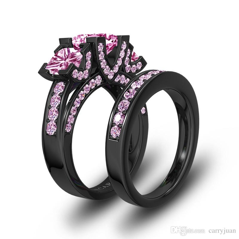 choucong impresionante joyería de lujo moda tres piedra princesa rosa Saspphire 925 plata esterlina anillo de novia boda oro negro