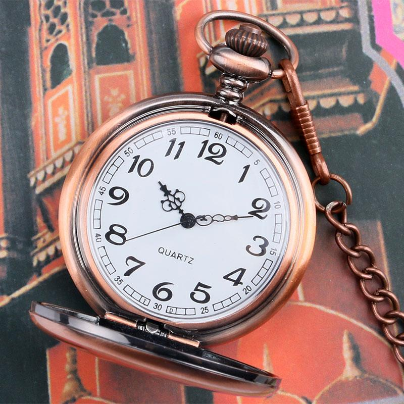 New Arrival Sample Rose Golden Bronze Pocket Watch Concise Fob Watch With Chain Free Postage Gift