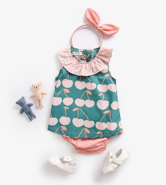 ca72a134f Baby Girls Clothes Set Cherry Vest+Pants Outfits Summer Baby ...