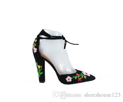 Punta Bordado Sandalias Cordones Roma Mujer Zapatos Con Bombas Estrecha Block Negro Suede Heels De Tacón Estilo Sexy lTFKJ31c