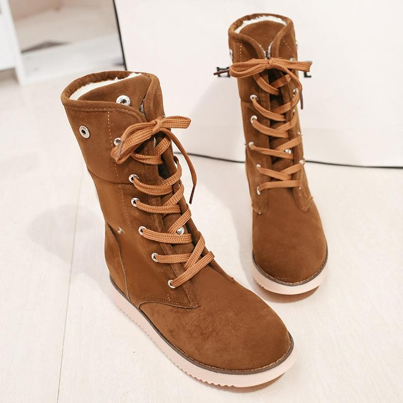 MOSHU Women Winter Boots Female Suede Snow Mid Calf High Boots Ladies Lace Up Cross Tied Botas