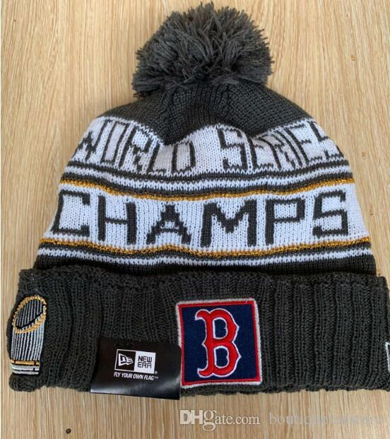 07c69084f91 Wholesale And Retail Baseball Sport Knitted Beanies Good Quality Red Sox  2018 WS Champions Skull Hats Pom Embroidery Cuff Beanie Caps Cool Beanies  Beanie ...