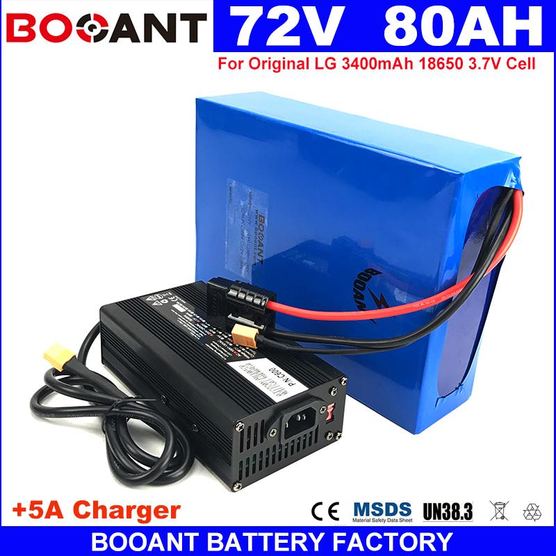 72V E-Bike Lithium Battery pack for Original LG 18650 cell 72V 80AH for  Bafang BBSHD 4000W Electric bike Battery +5A Charger