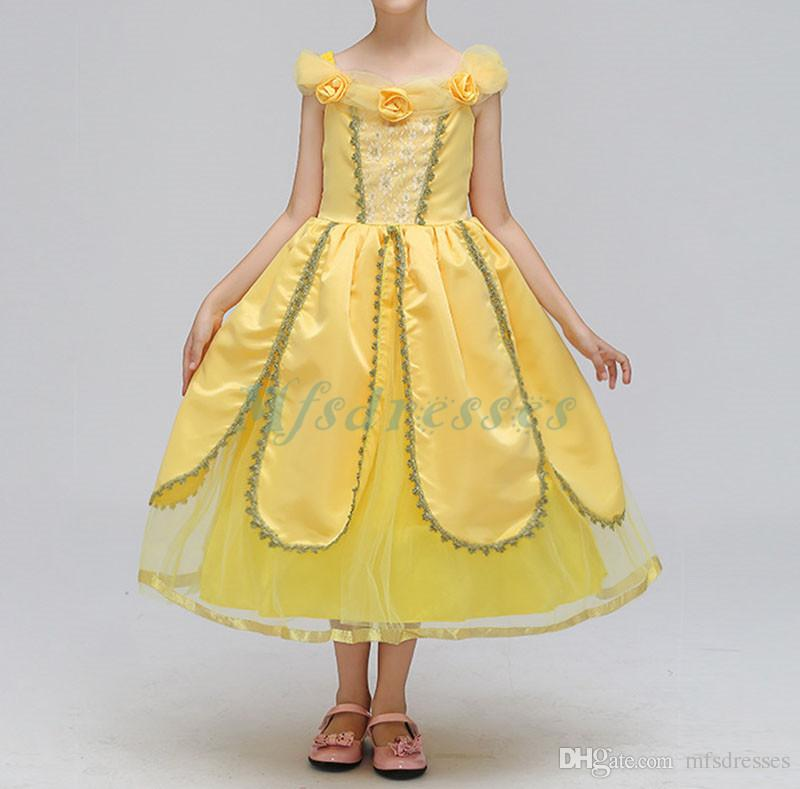 2018 Nueva princesa Yellow Spaghetti Straps Flower Girl Vestidos La longitud del té Niños Formal Weeding Party Dress Girls Birthday Party Dress