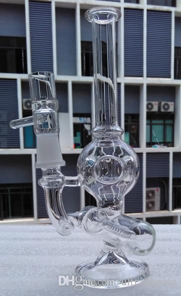 Yeni 3 delik topu geri dönüşüm cam bong colat birdcage perc 8.1 inç kalın cam su sigara boruları 14mm ile ortak