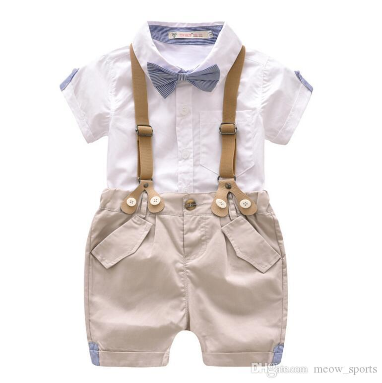 5cc770fb77a 2019 Toddler Boys Clothing Set Summer Baby Suit Shorts Shirt 1 4 Year  Children Kid Clothes Suits Formal Wedding Party Costume From Meow sports