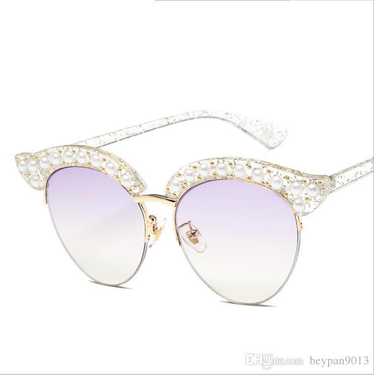 88d783393 2019 Fashionable Luxury Designer Sunglasses Charming Woman Fashionable  Style Round Lens Cat Eye Diamond Half Rim Frames Glass Sun Glasses From  Beypan9013, ...
