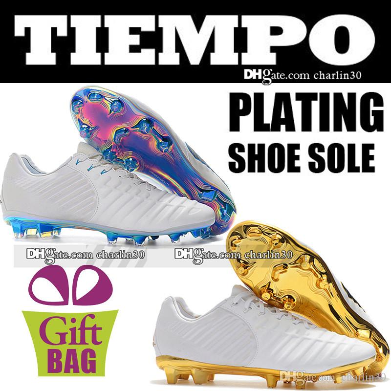 cheap for discount 91dd9 b54de New Original Outdoor Soccer Boots Trainers Tiempo Legend VII Elite FG  Leather Football Shoes Tiempo ACC Soccer Cleats White Football Boots