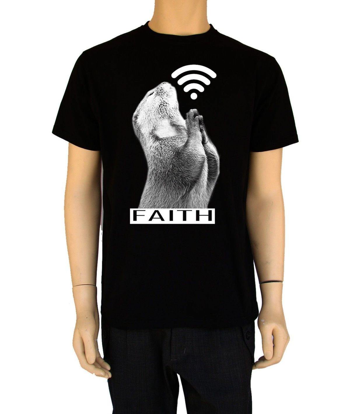 "Funny Mens T Shirt ""faith"" Retro Style Cotton Urban Design Animal Pray Different Colours High Quality 100% O-Neck Stylish"