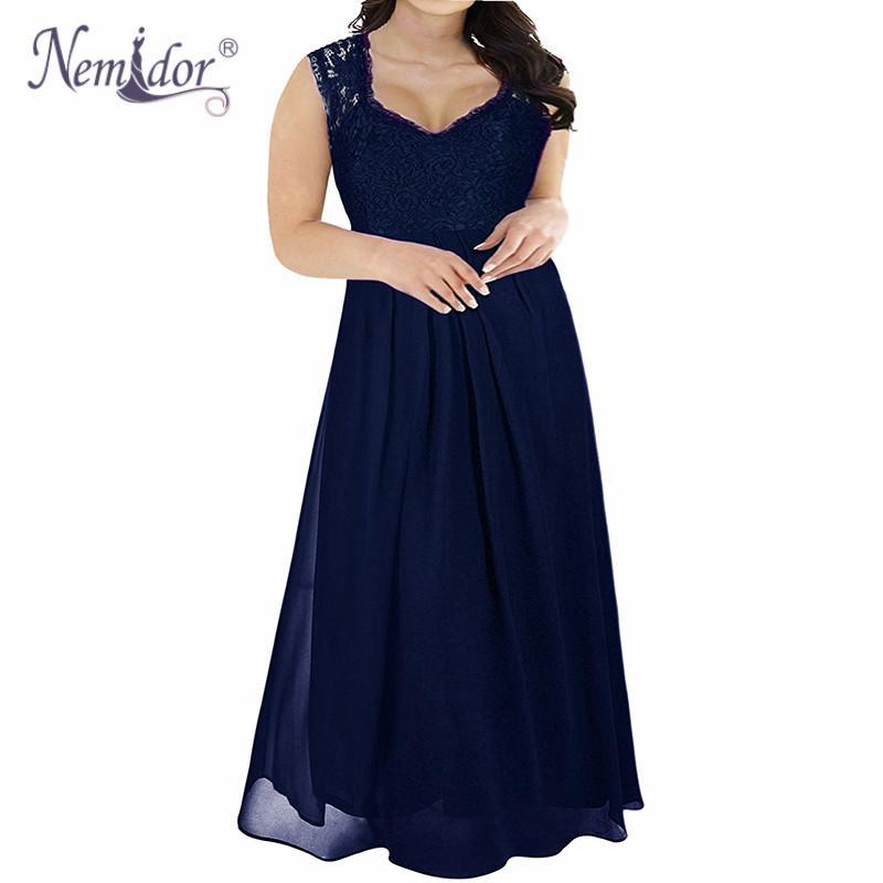 dbe7e65c2b5bc 2019 Nemidor High Quality Women V Neck Chiffon Lace Patchwork Party Dress  Plus Size 7XL 8XL 9XL Sleeveless Vintage Long Maxi Dress From Vincant
