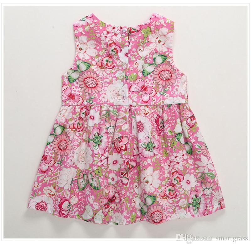 Floral Summer Dress with Sunhat for Baby Cotton Baby Girl Clothes Sleeveless Girls Knee Length Dresses 18041701