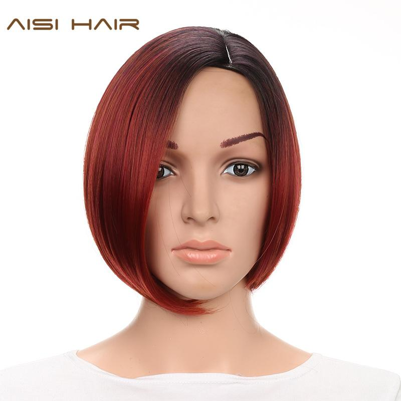 Großhandel Aisi Haar Kurze Synthetische Ombre Perücken Für Schwarze