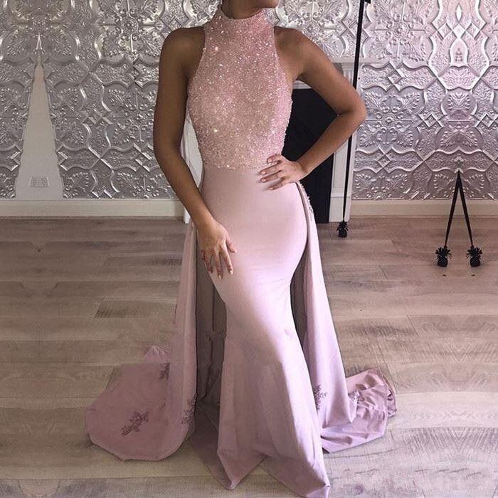 2018 Barato Rosa Sereia Africano Vestidos de Baile de Alta Neck Beading Cristal Lace Applique Overskirt Trem Da Varredura De Cetim Pageant Festa Vestidos de Noite