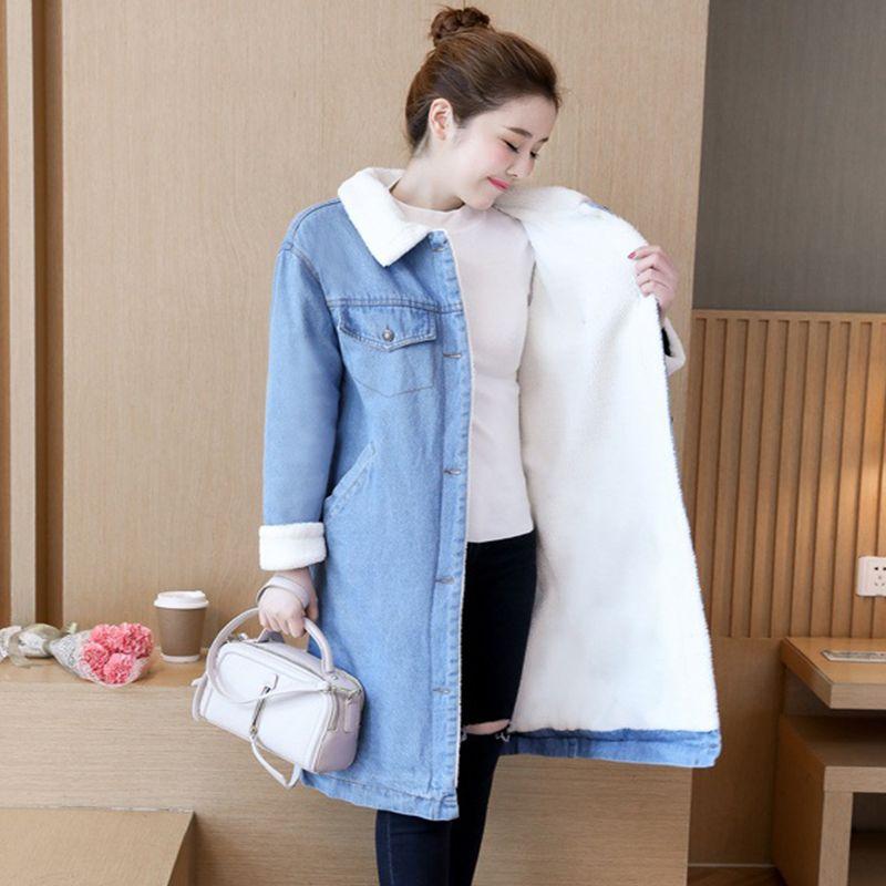 34bb4bcac93e3 Warm Wool Lining Women Basic Long Coats Autumn Winter Women Denim Jacket  New 2018 Vintage Female Jeans Coat Casual Girls Outwear Leather Jacket With  Fur ...