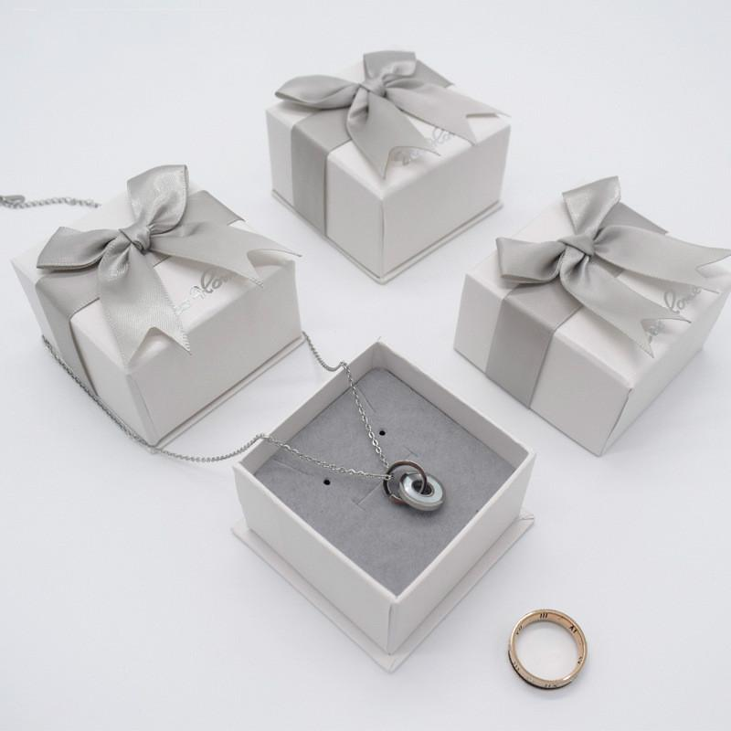 Jewelry Box High End Ribbon Bow Exquisite Ring Earring Box Wholesale Necklace Pendant Packing Paper Box Custom Logo