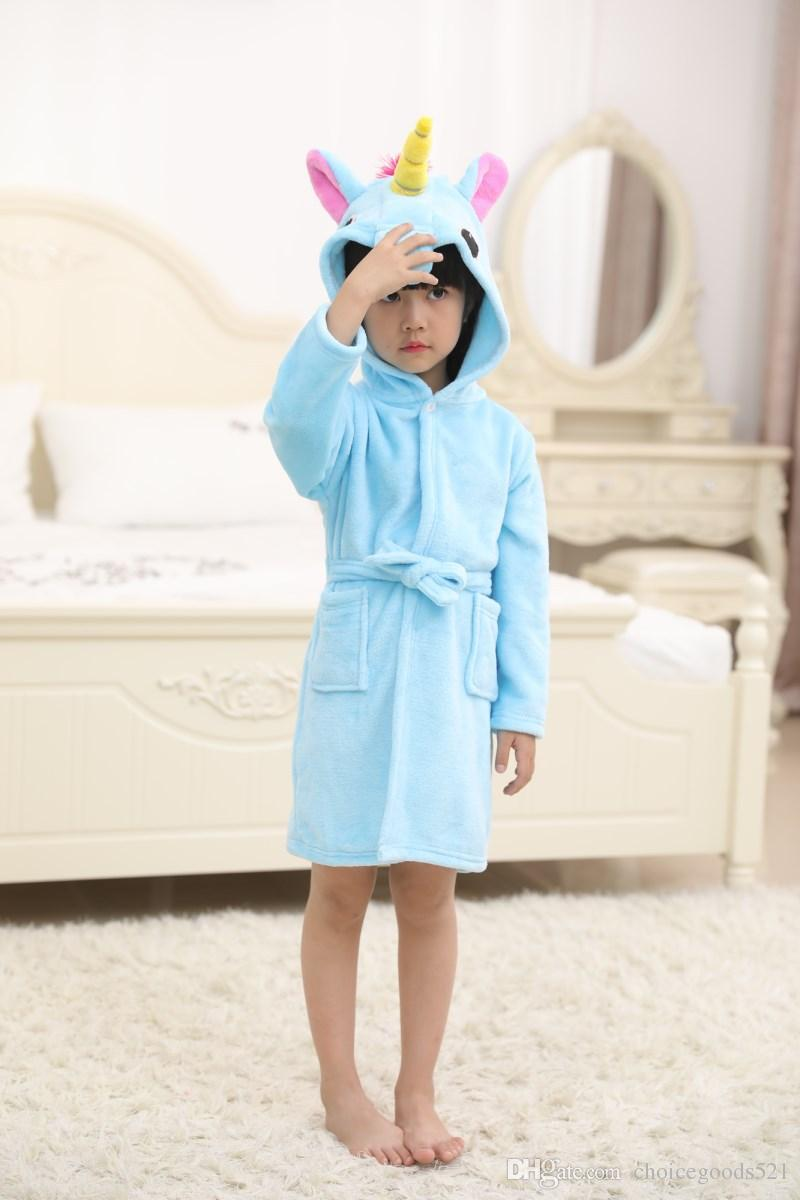 a4b4625d28 Bathrobe Girls Pajamas Baby Bath Robe Rainbow Unicorn Pattern Hoodies Robes  Kids Sleepwear Kids Animal Cartoon Robes Pajamas For Kids On Sale Winter  Pajamas ...