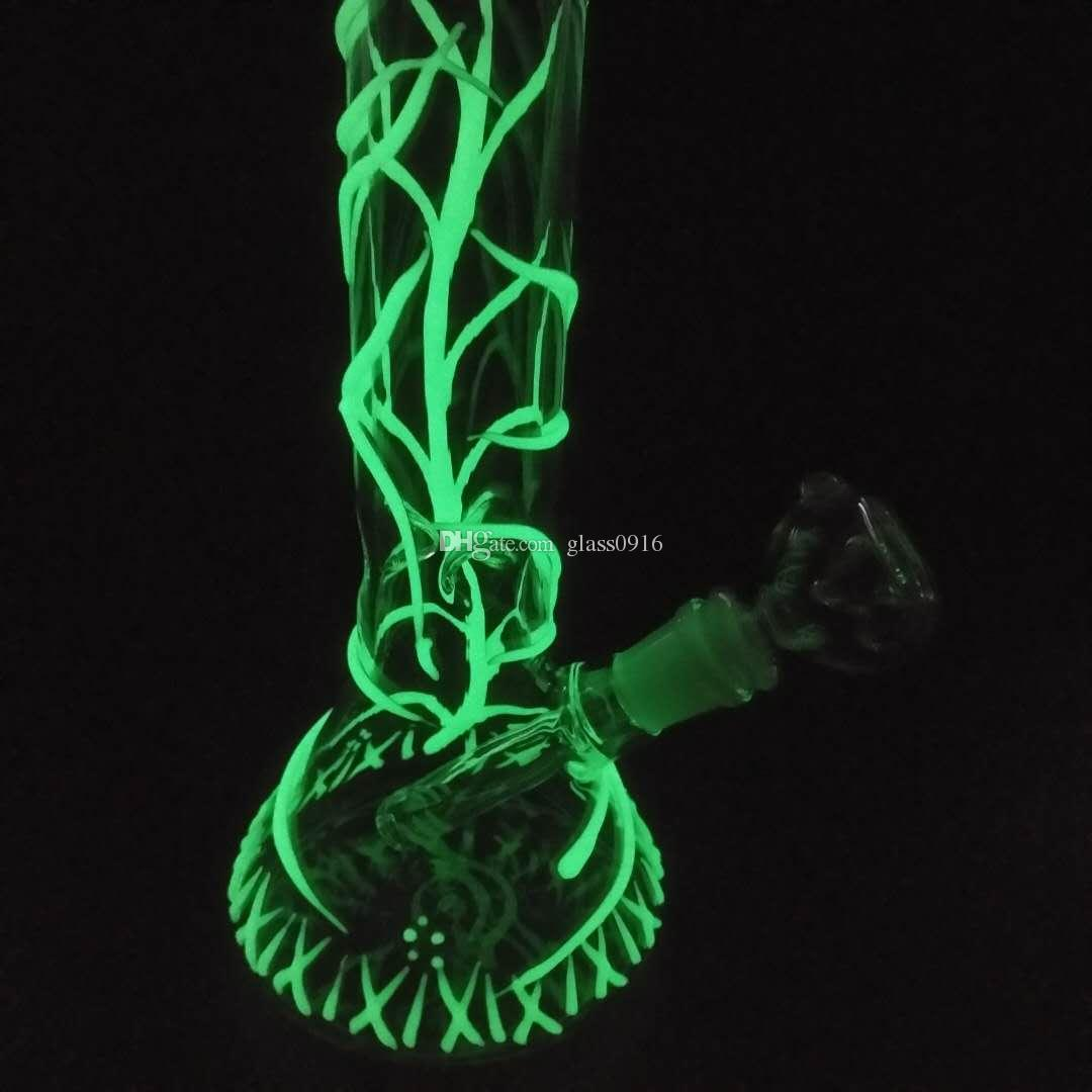 Mini glass double follow glass pipe blow pipe cyclone oil rig intermediate shipping light water smoke fluorescence.