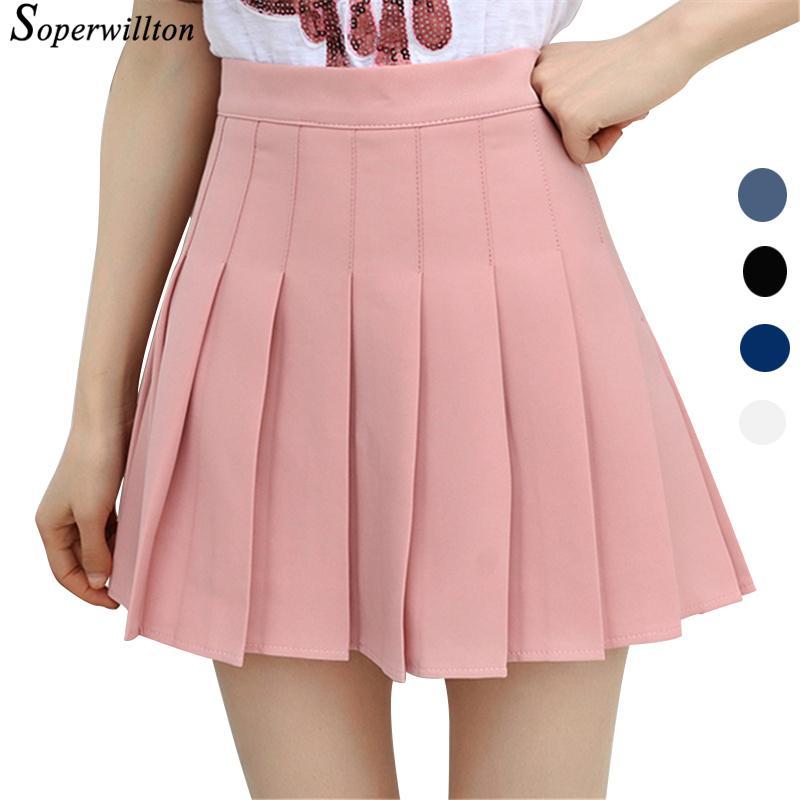 3a6a815ab 2018 falda plisada escuela corta de la cintura alta para las muchachas Mini  faldas atractivas de verano rosa para mujer polainas kawaii falda sol ...