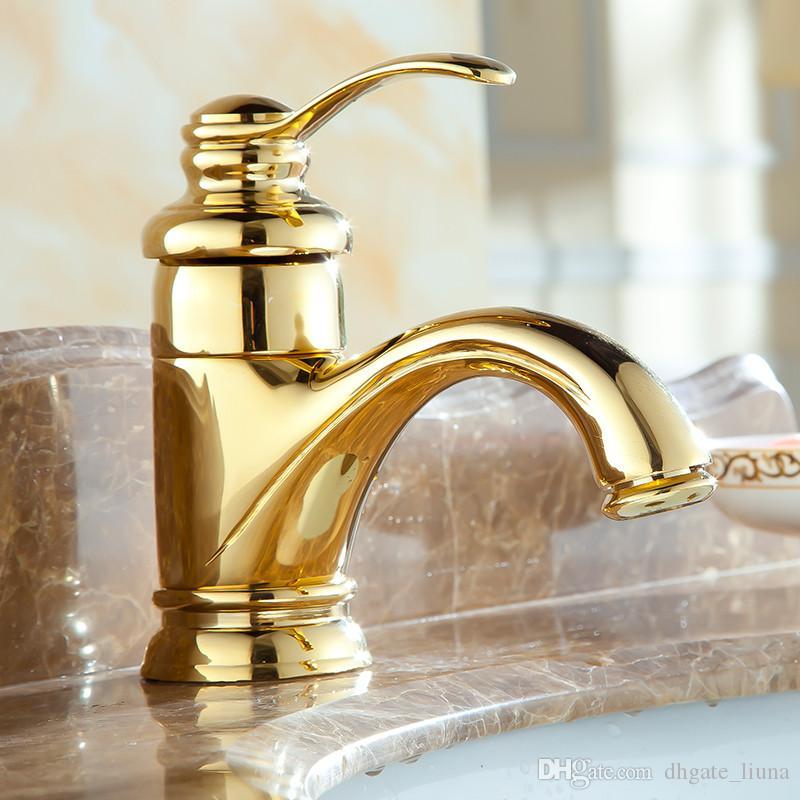 Banyo Dokunun Tek Delik Altın Lehçe Banyo Havzası Evye Mix Dokunun Havzası Musluklar Küçük Güverte Üstü Su Mikser Dokunun