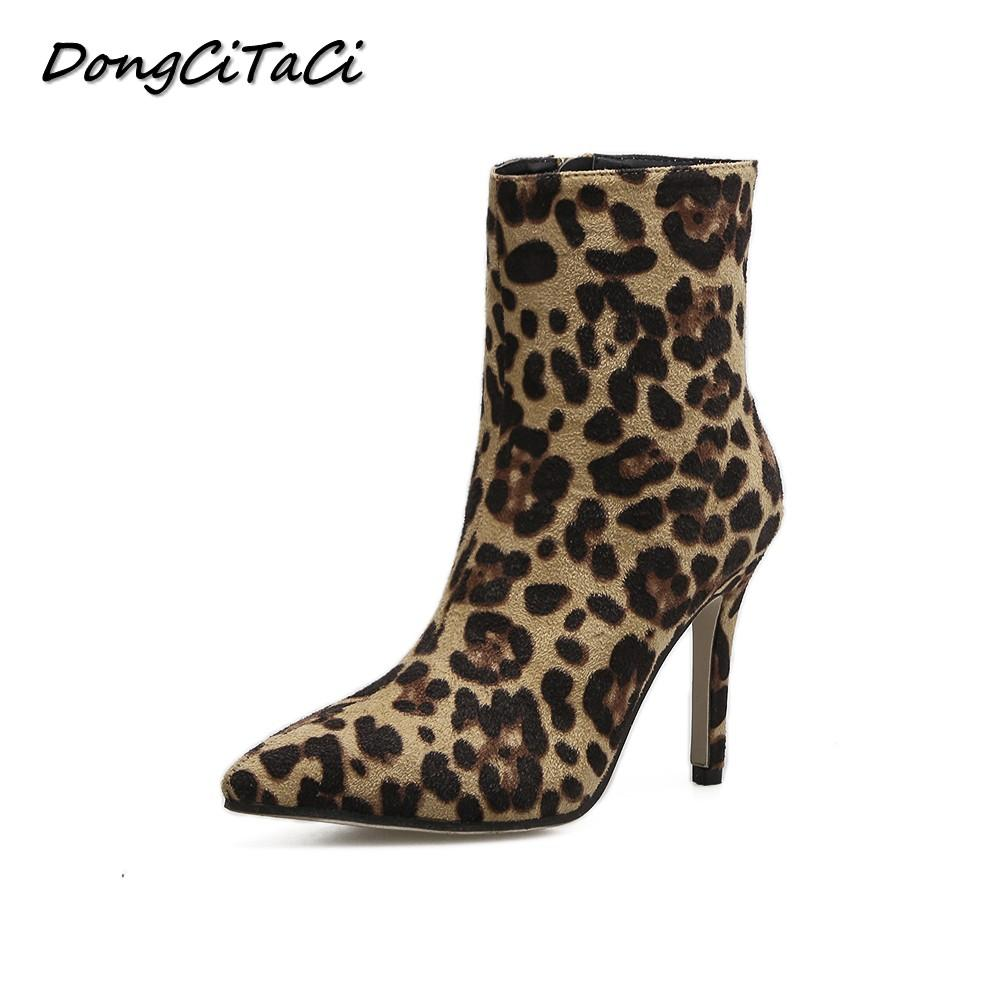 DongCiTaCi Autumn Winter Women Leopard Ankle Boots Shoes Woman High Heel  Pumps Party Wedding European USA Fashion Short Bootie Rain Boots Mens Shoes  From ... bd922a16be
