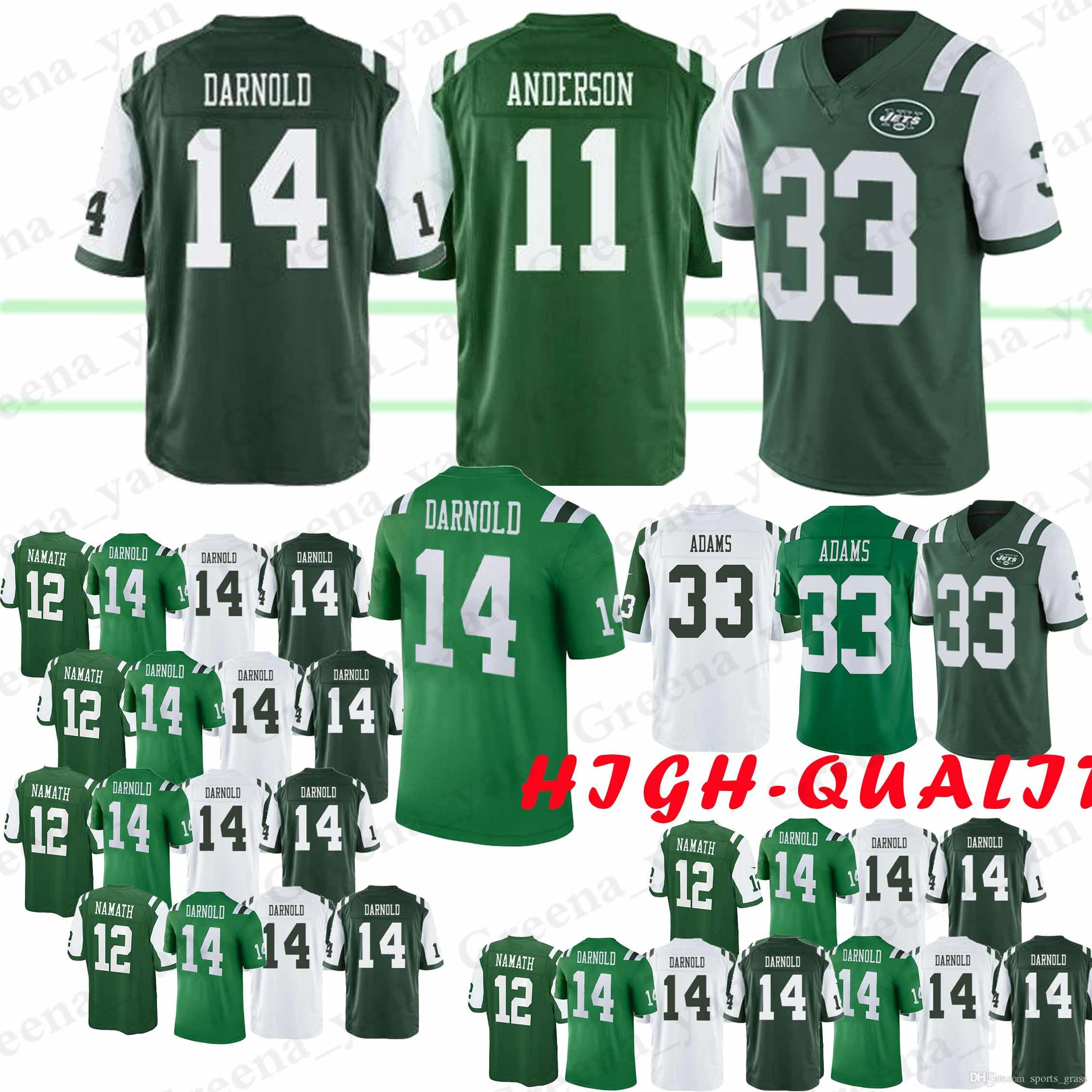 new arrival 2c5f3 4ce86 14 Sam Darnold New 11 Robby Anderson York Jets jersey 33 Jamal Adams 12 Joe  Namath jersey 2019 new Top quality