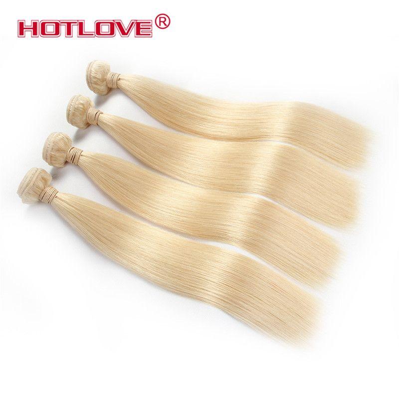 Hotlove 613 الشعر مستقيم 4 حزمة مع الدانتيل أمامي إغلاق 13 * 4 بوصة البرازيلي العذراء مستقيم 613 ضوء شقراء الشعر البشري ملحقات