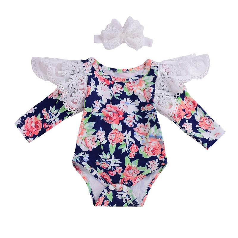 5374a7104d7f 2019 Pudcoco Toddler Baby Girl Flower Lace Bodysuit Fashion Girls ...