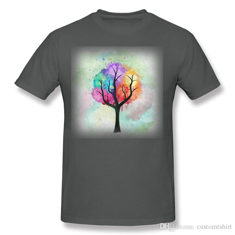 Cheap Men's 100 Cotton Awesome abstract pastel colors oil paint tree of Life T Shirt Men's Round Collar Gray Short Sleeve T Shirt Plus Size