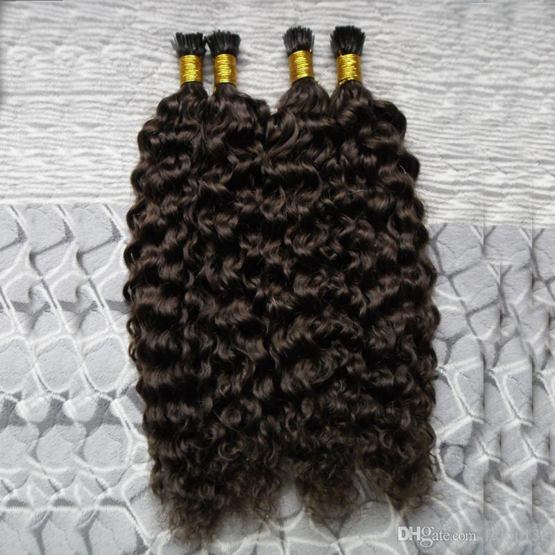Não transformados brasileiro Kinky Curly virgem cabelo eu ponta extensão do cabelo 200g / strands Prebonded extensões de cabelo humano # 2 Darkest Brown