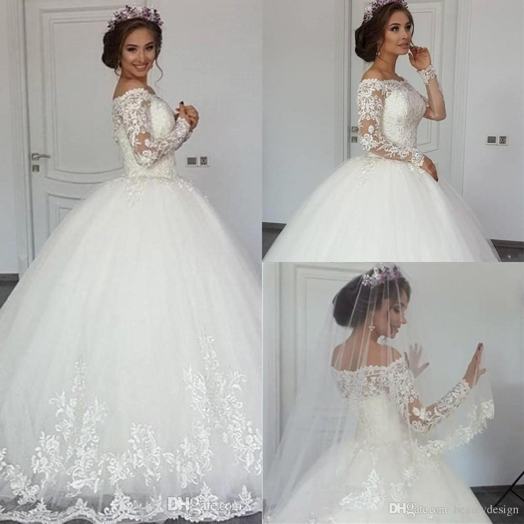 68994ced85 Discount 2018 Gorgeous Off The Shoulder Ball Gown Wedding Dresses With Long  Sleeves Tulle Lace Appliqued Wedding Gown Vestidos De Novia BA9666 Plus Size  ...
