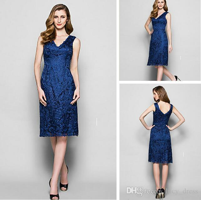Graceful High Quality V-neck Sheath Bridesmaid Lace Dresses Sleeveless Maid of the Honor Knee-length Wedding Guest Dress