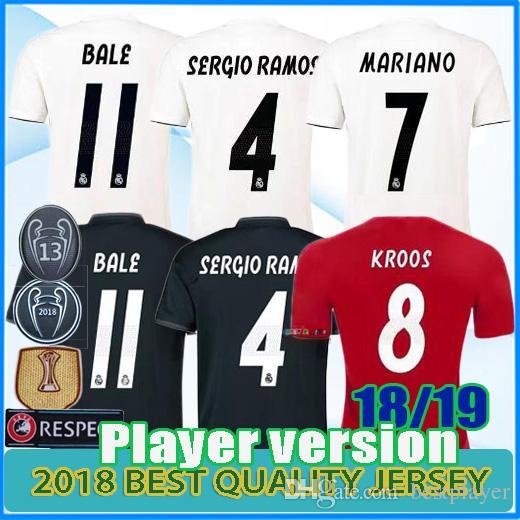 1eae4b35bba07 Compre 13 Campeão Real Madrid Casa Branca Camisa De Futebol 2018 2019 Camisa  De Futebol Do Real Madrid Versão De Jogador Do Bale Mariano Uniformes De ...