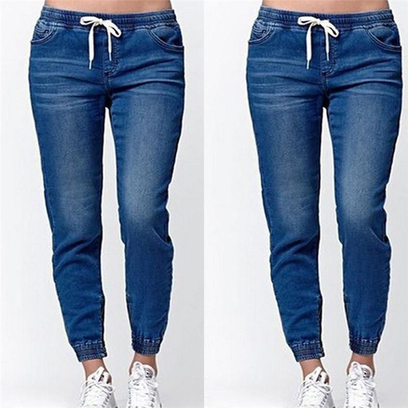 7c991c9fd Compre Pantalones De Mezclilla De Moda Jeans Streetwear Mujer Pantalones De  Mezclilla Mujer Cordones Wasit Pantalones Con Cordones Tamaño De Las  Señoras  S ...